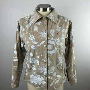 Fresh Produce XS Tan White Button Front Jacket